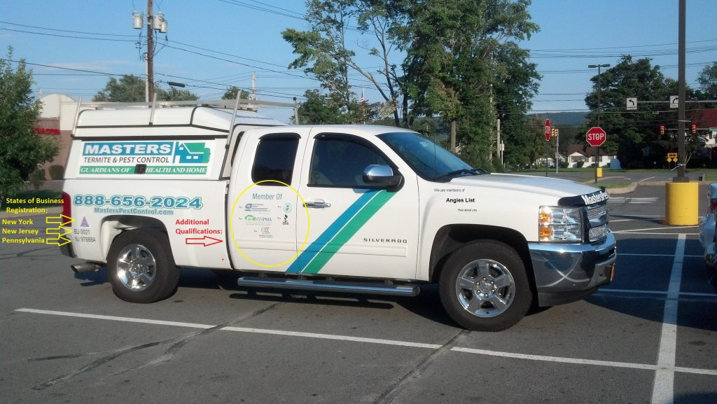 The truck of a pest control professional