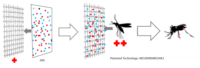 Diagram of Mosquito entering trap and becoming exposed to the product